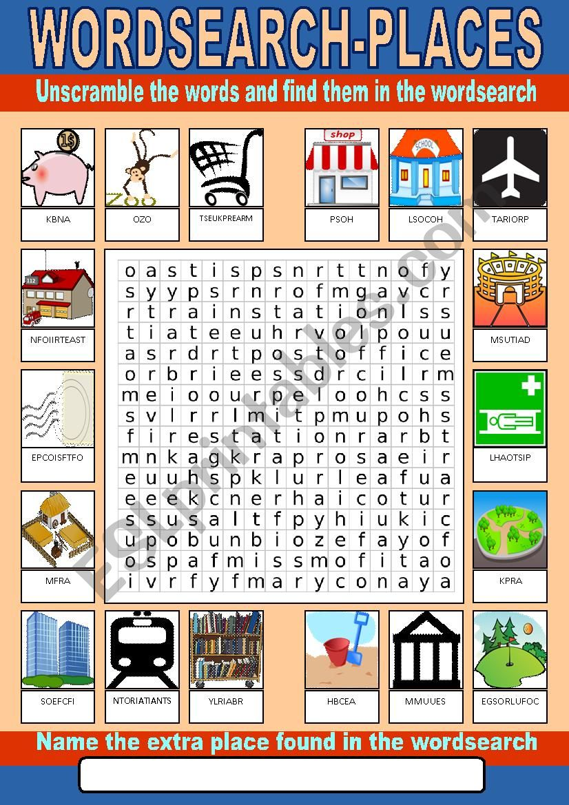 Places Wordsearch worksheet