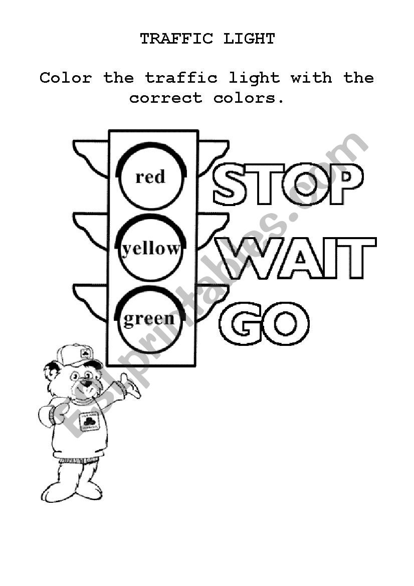 english worksheets  traffic light