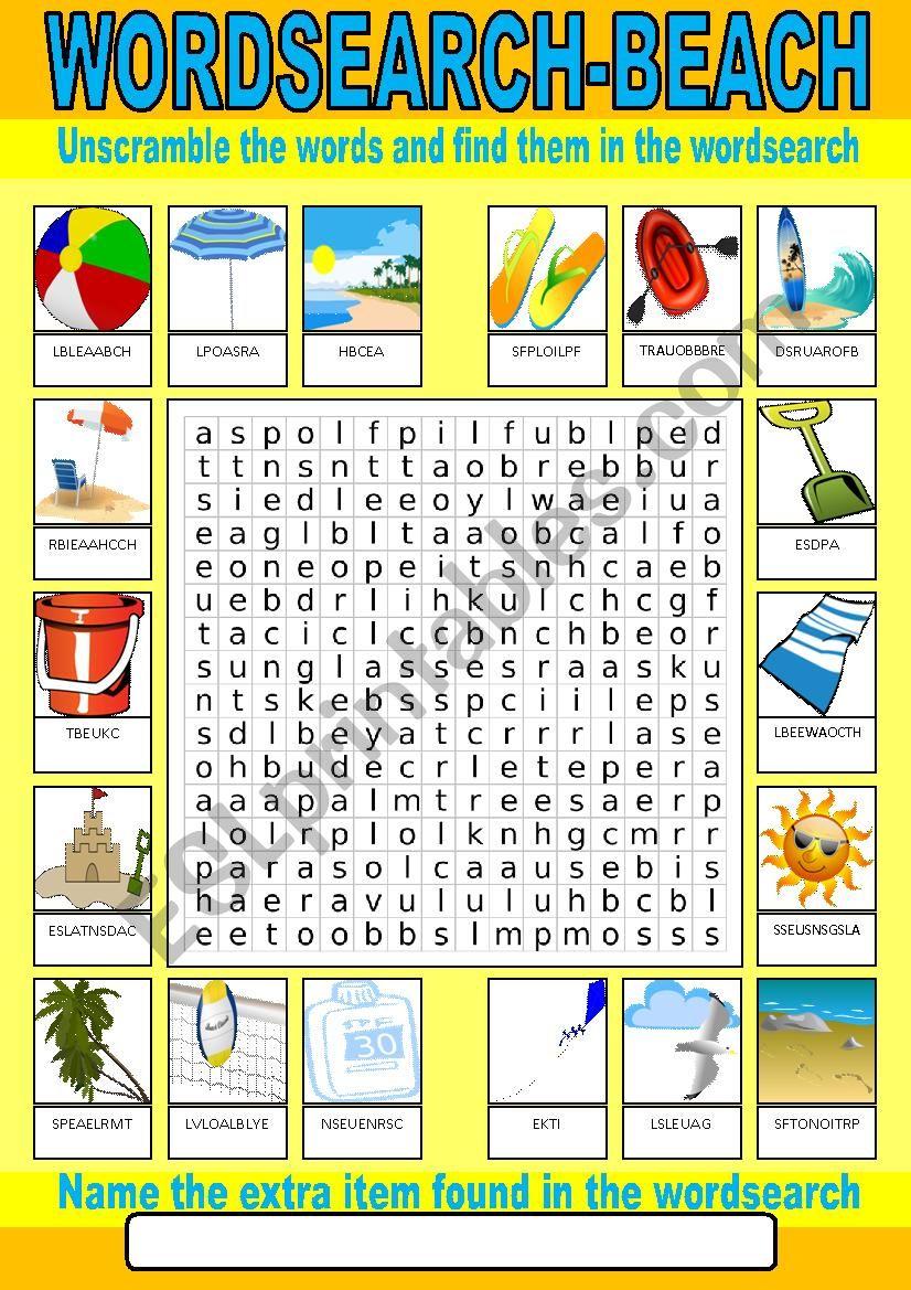 Beach Wordsearch worksheet
