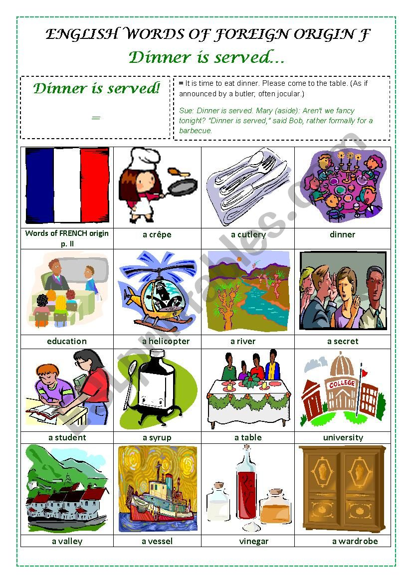 ENGLISH WORDS OF FOREIGN ORIGIN F  (FRENCH) - a pictionary