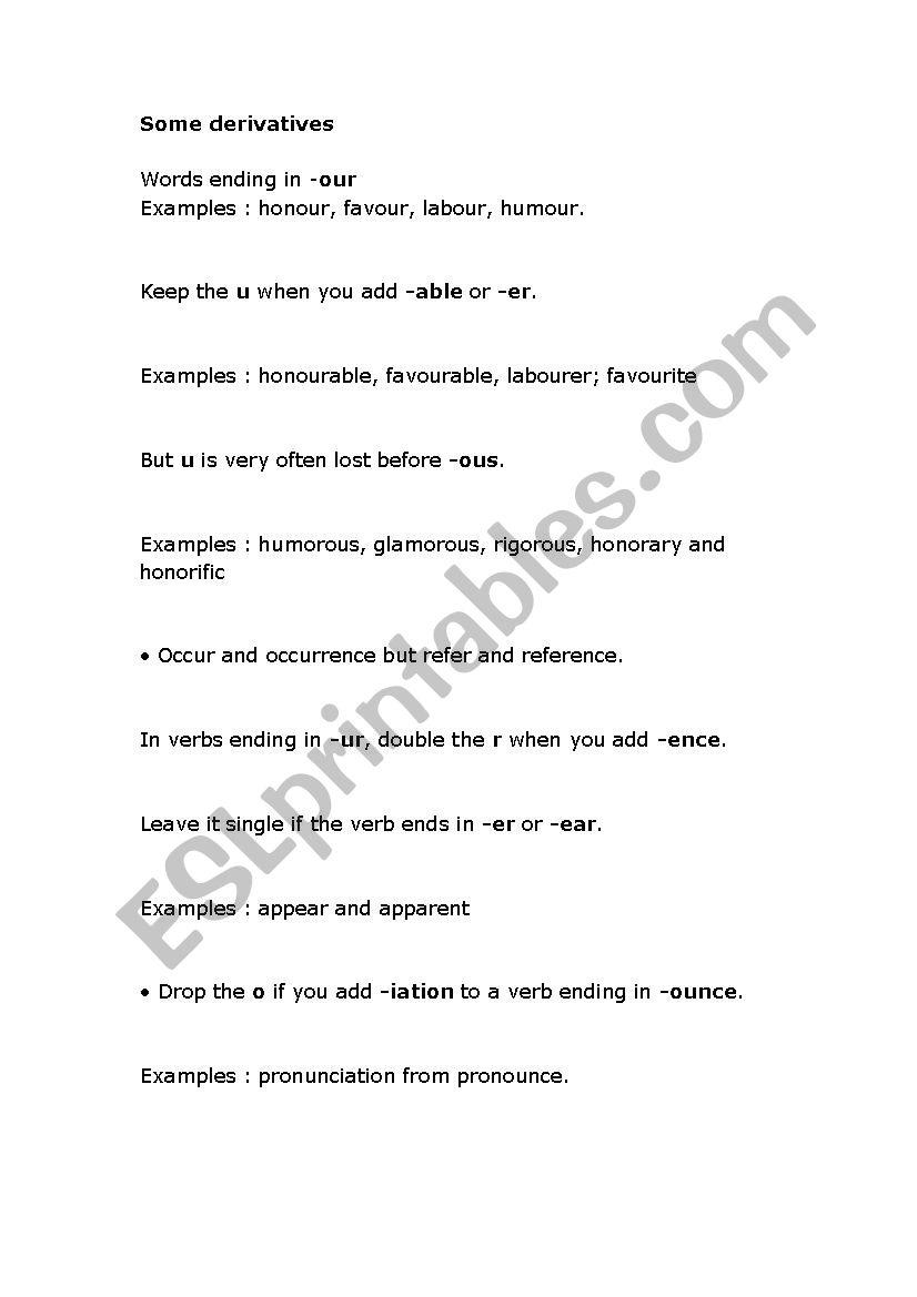 some derivatives worksheet