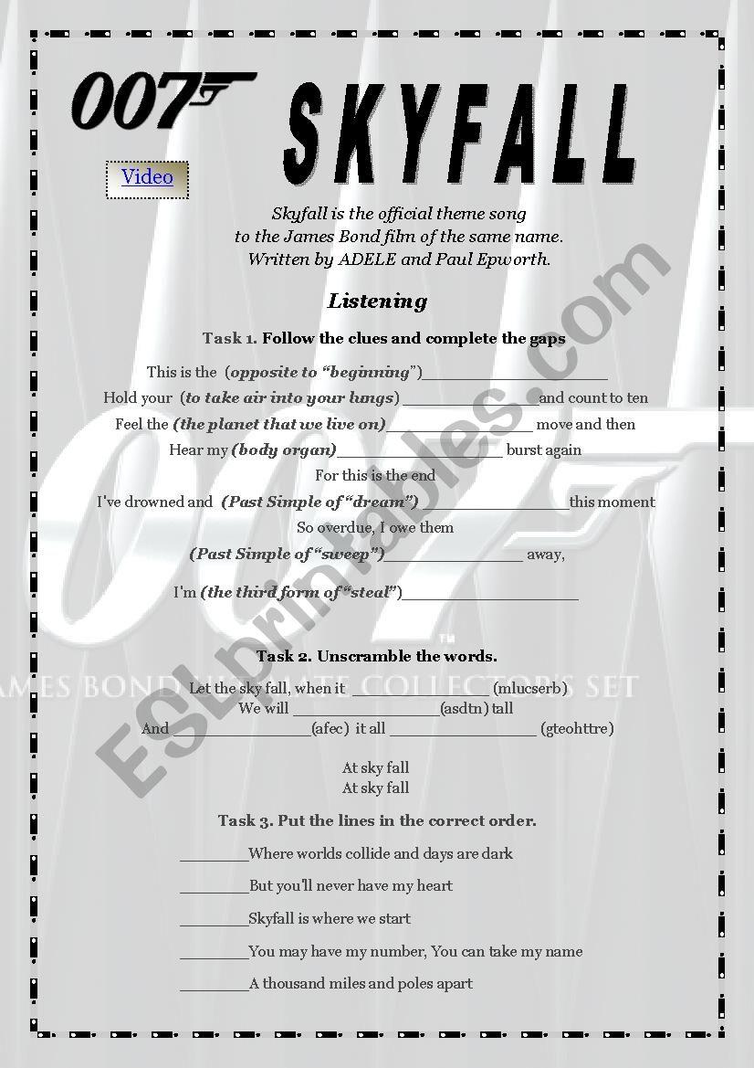 Skyfall  by Adele worksheet