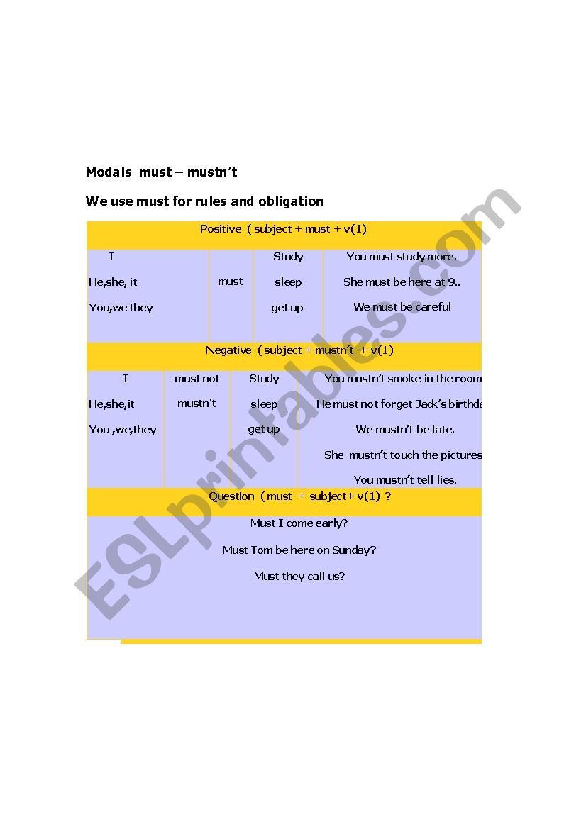 modals worksheet