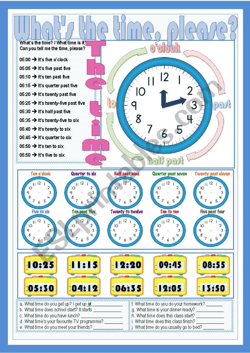 What´s the time, please? worksheet