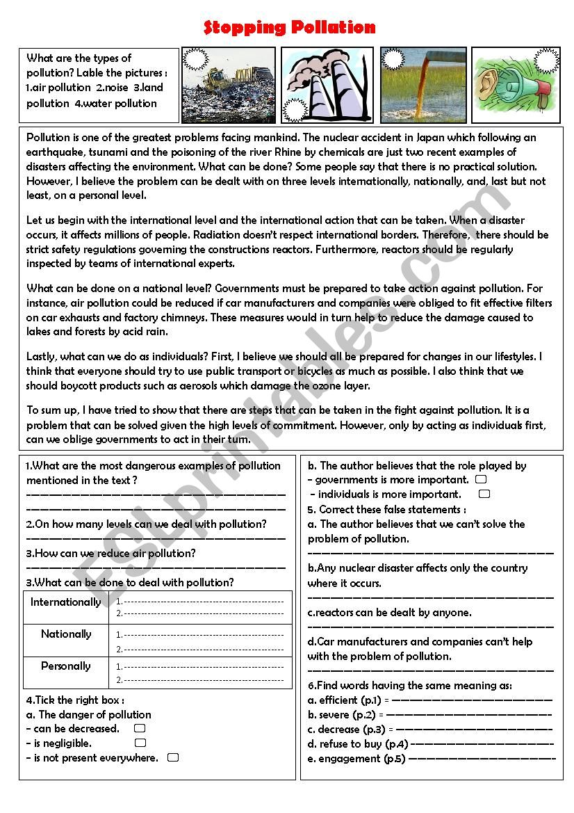 stopping pollution worksheet
