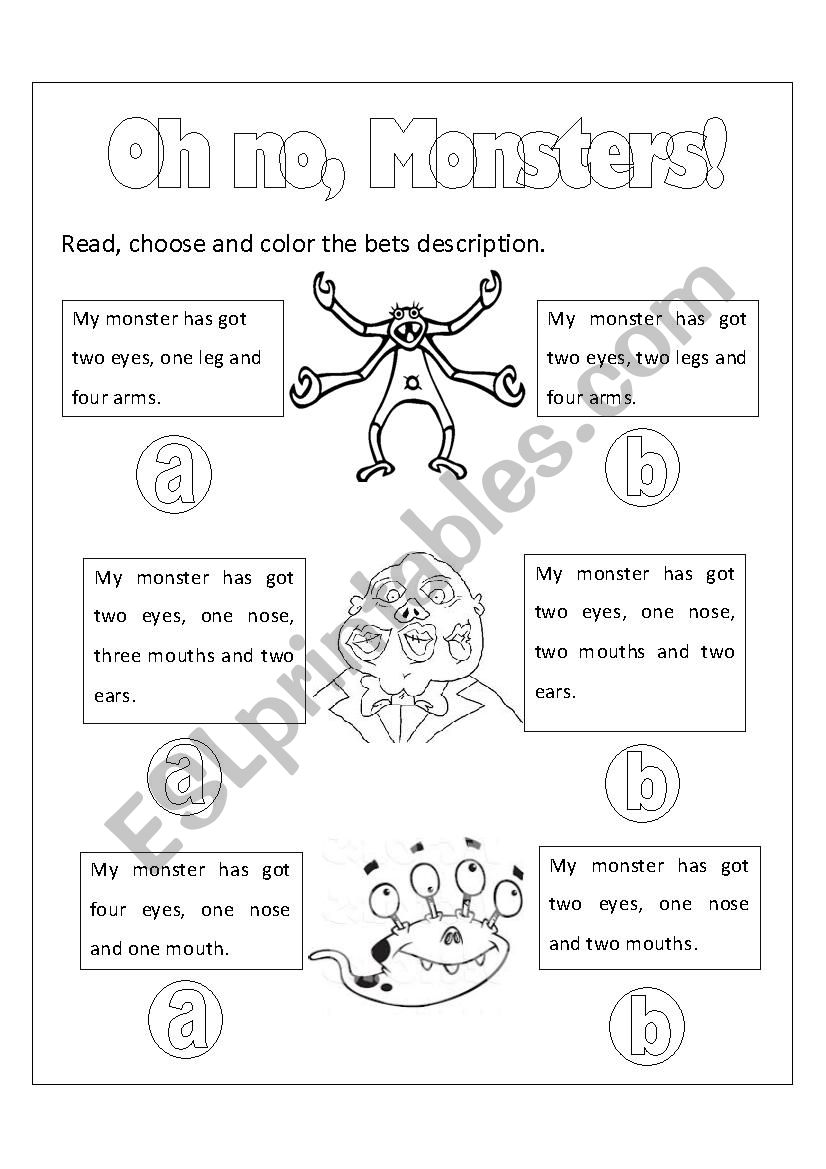 Monsters´ Body Parts worksheet