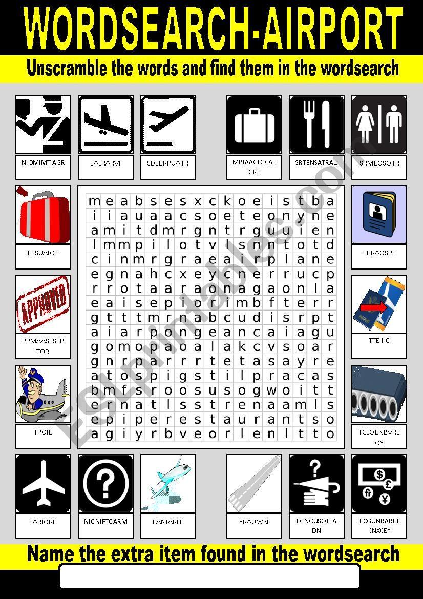 Airport Wordsearch worksheet