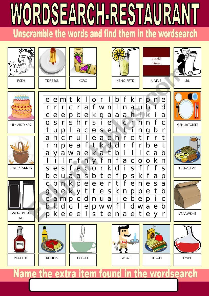 Restaurant Wordsearch worksheet