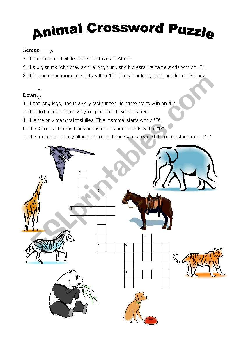 english worksheets  animals crossword puzzle