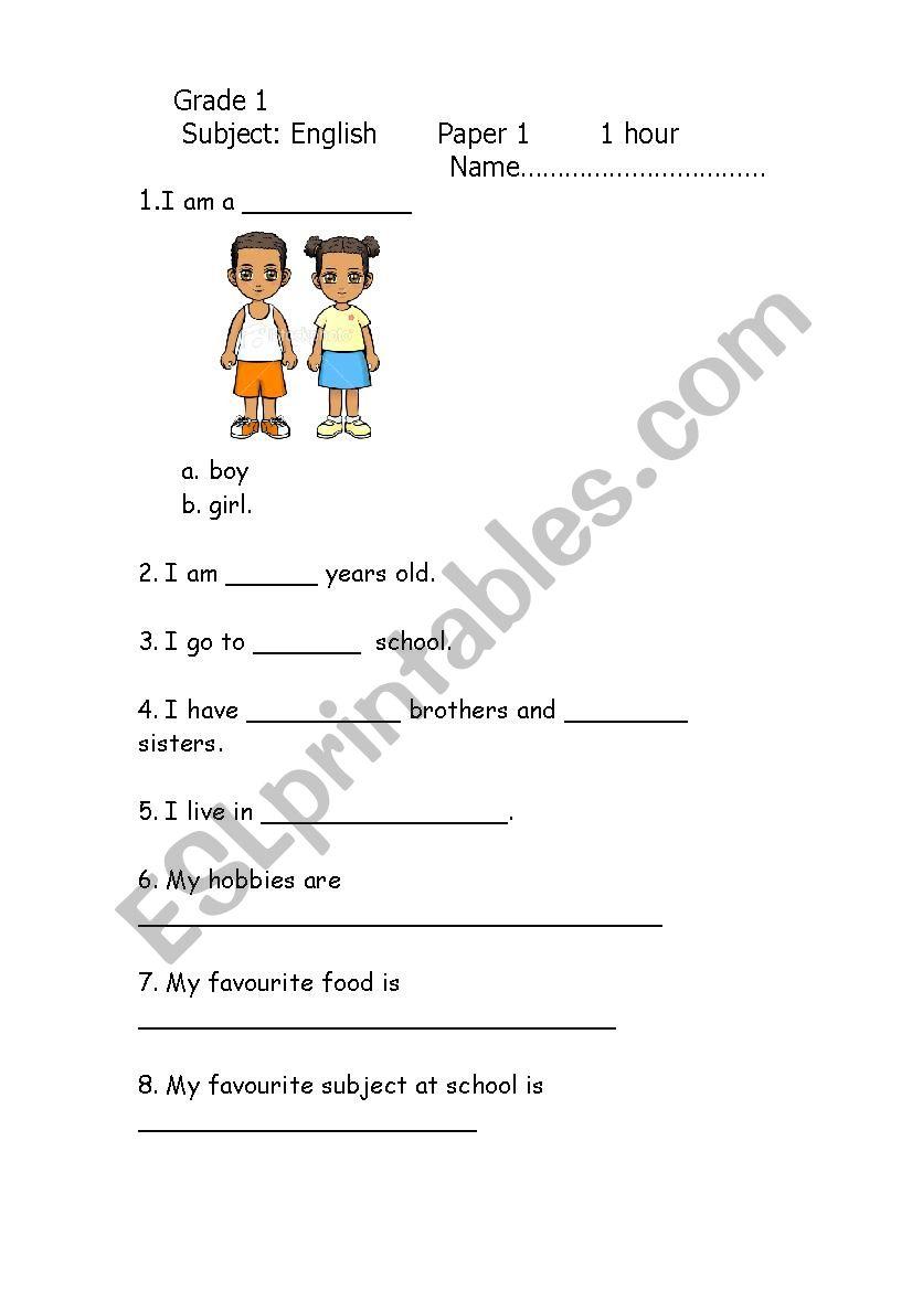 - Grade 1 English Exam 2012 - ESL Worksheet By Tayto
