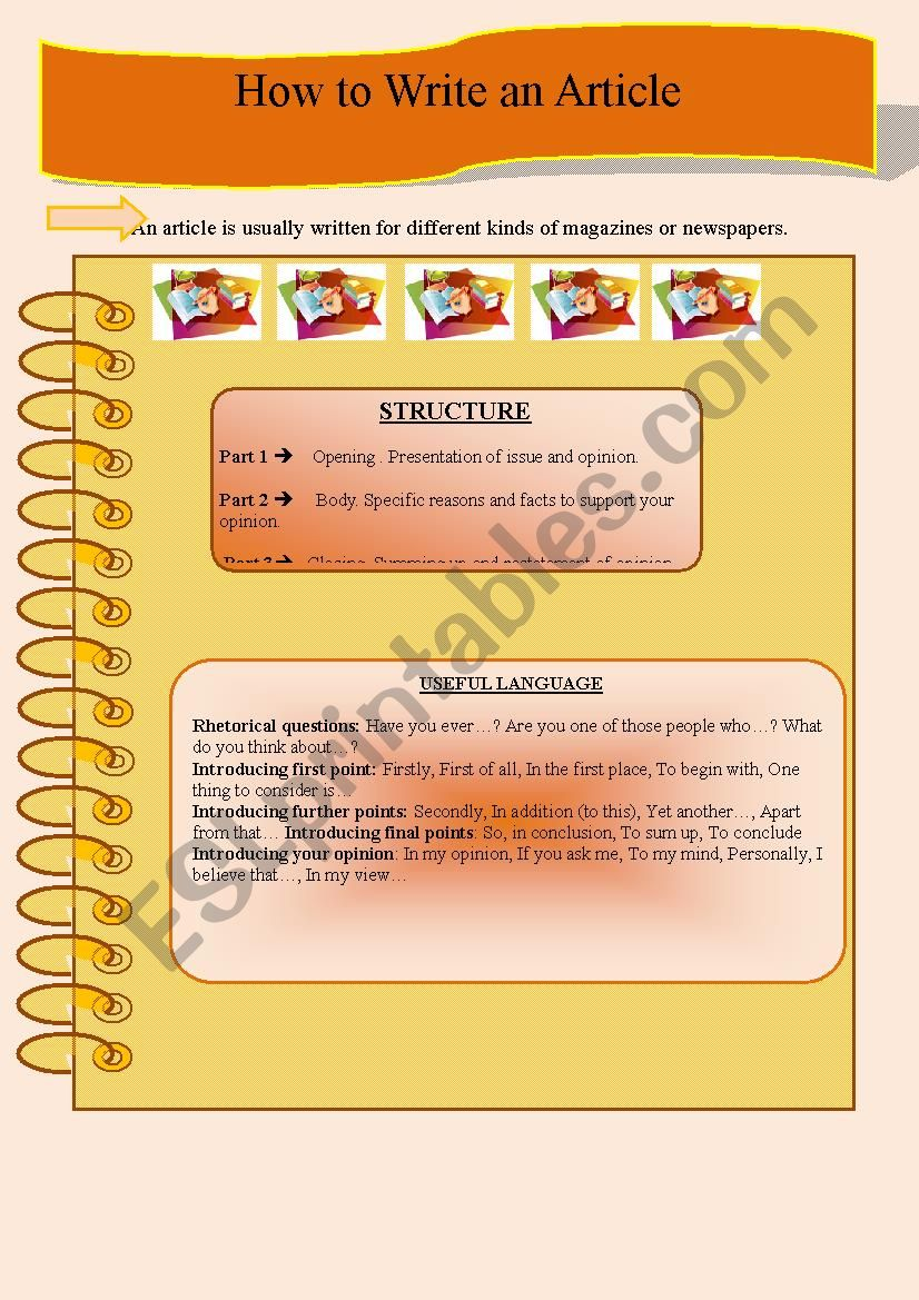 How to Write an Article worksheet