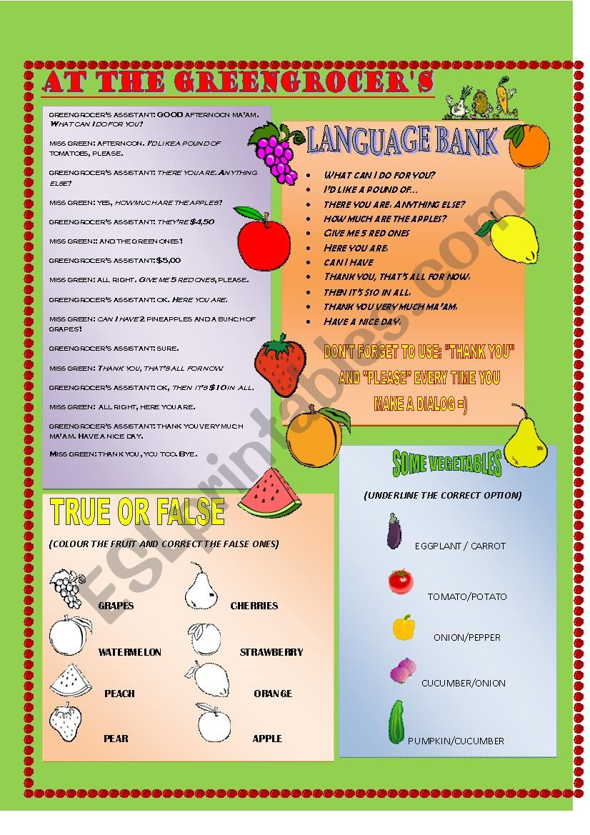 AT THE GREENGROCER´S + KEY worksheet