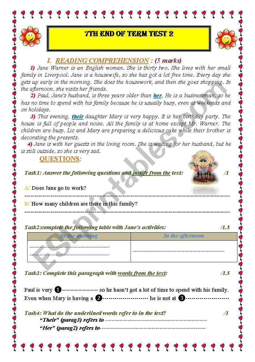 7th END TERM TEST 2 worksheet