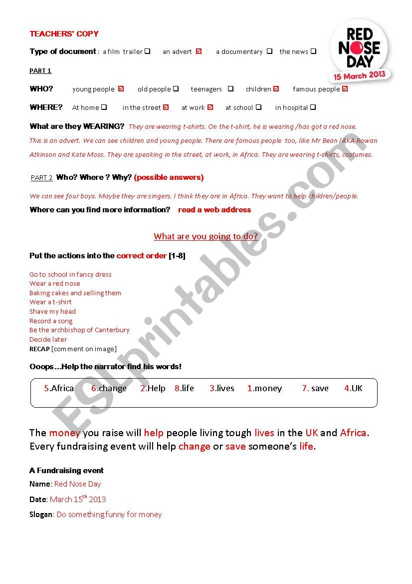 RED NOSE DAY  March 15th 2013 worksheet