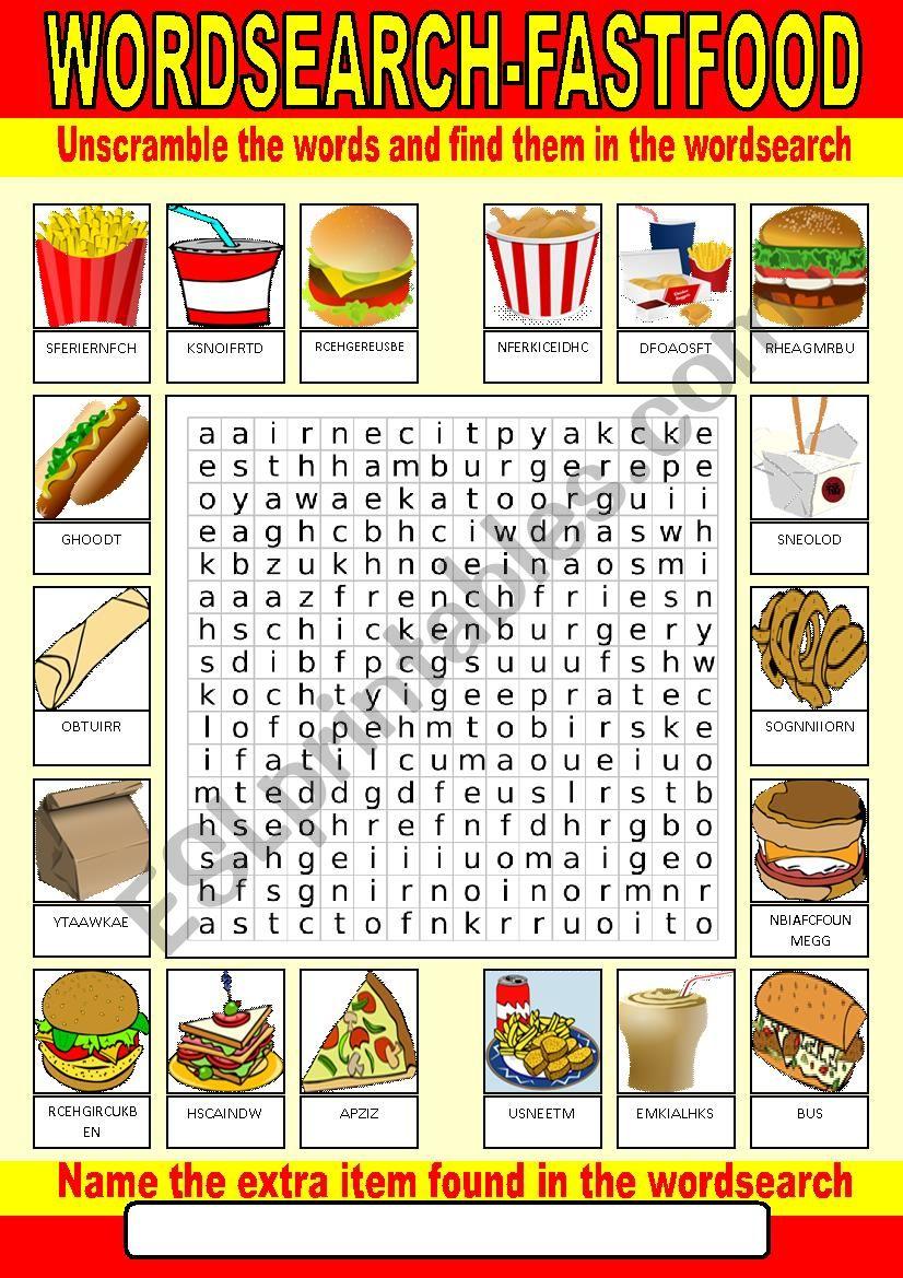 Fast food Wordsearch worksheet