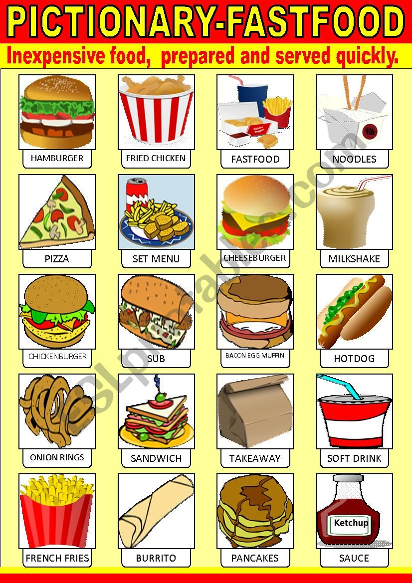 Fast food Pictionary worksheet