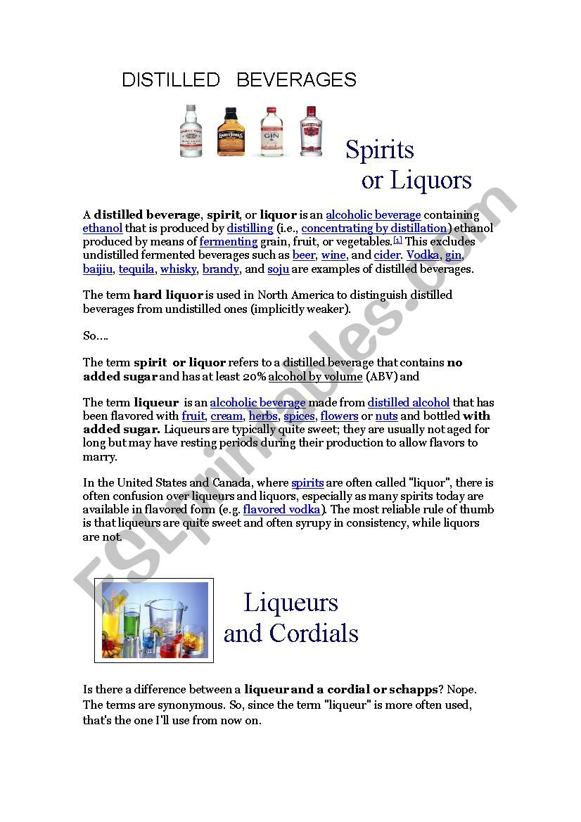 distiled beverages worksheet