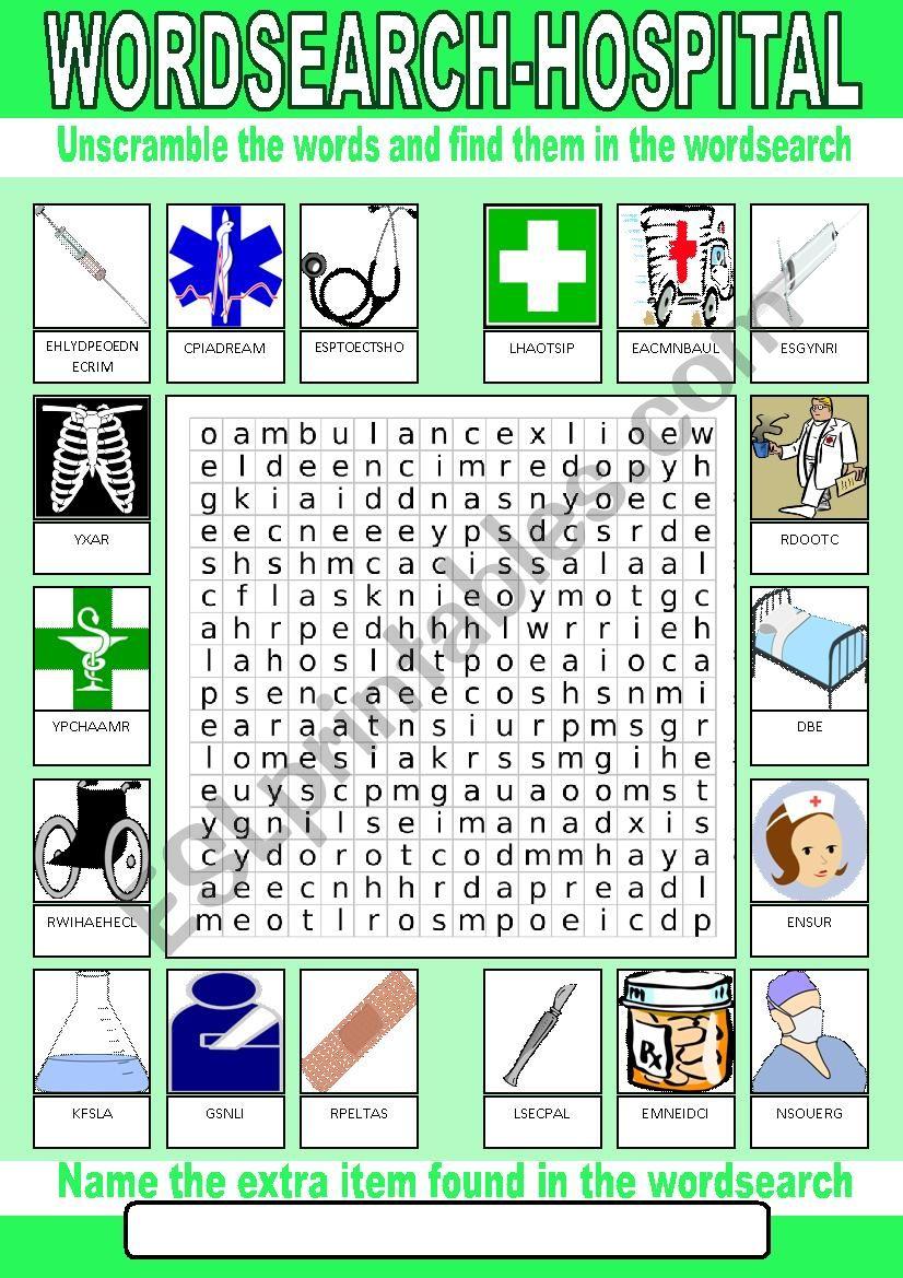 Hospital Wordsearch worksheet