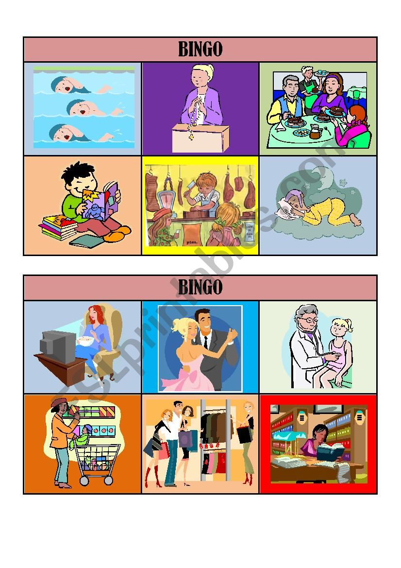 VERB TENSES BINGO CARDS/ playing cards 1/5