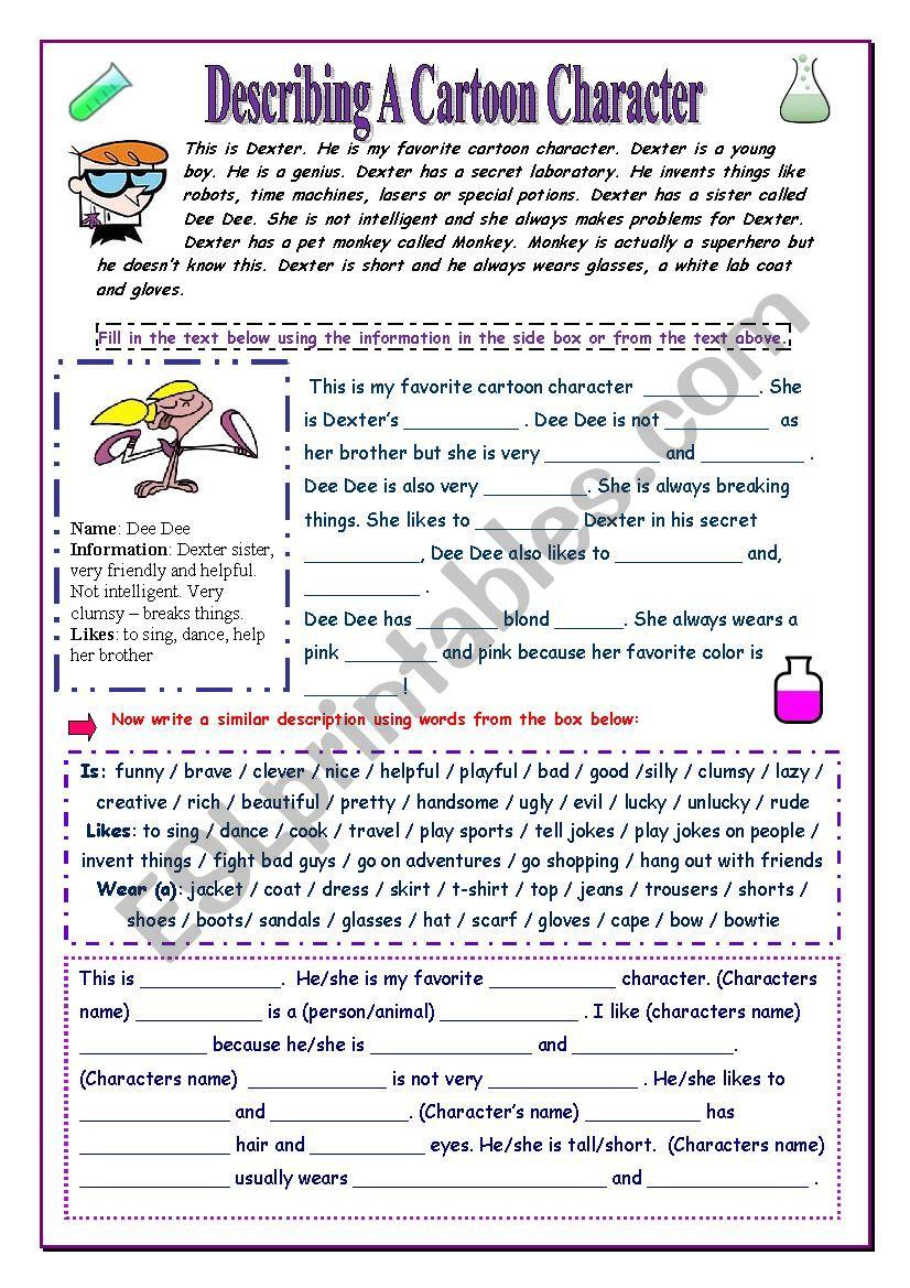 Describe a Cartoon Character worksheet