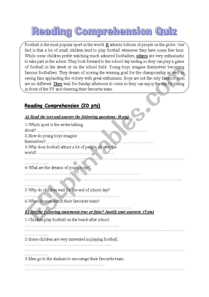 - Reading Comprehension Quiz - ESL Worksheet By Ibrahimoviç