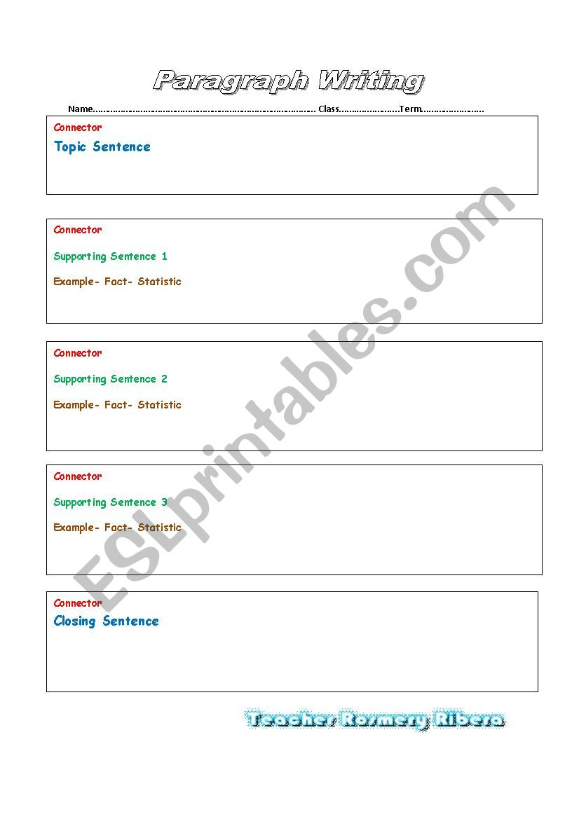 PARAGRAPH WRITING TEST FORMAT worksheet