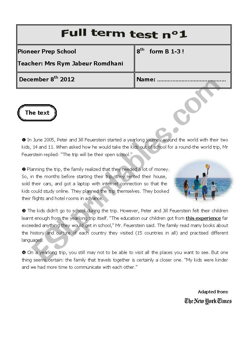 full term test 1 8th form worksheet