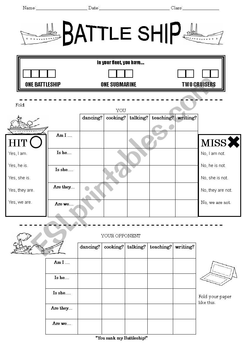 Battleship Game Great For Target Sentences Esl Worksheet By Nigelwea
