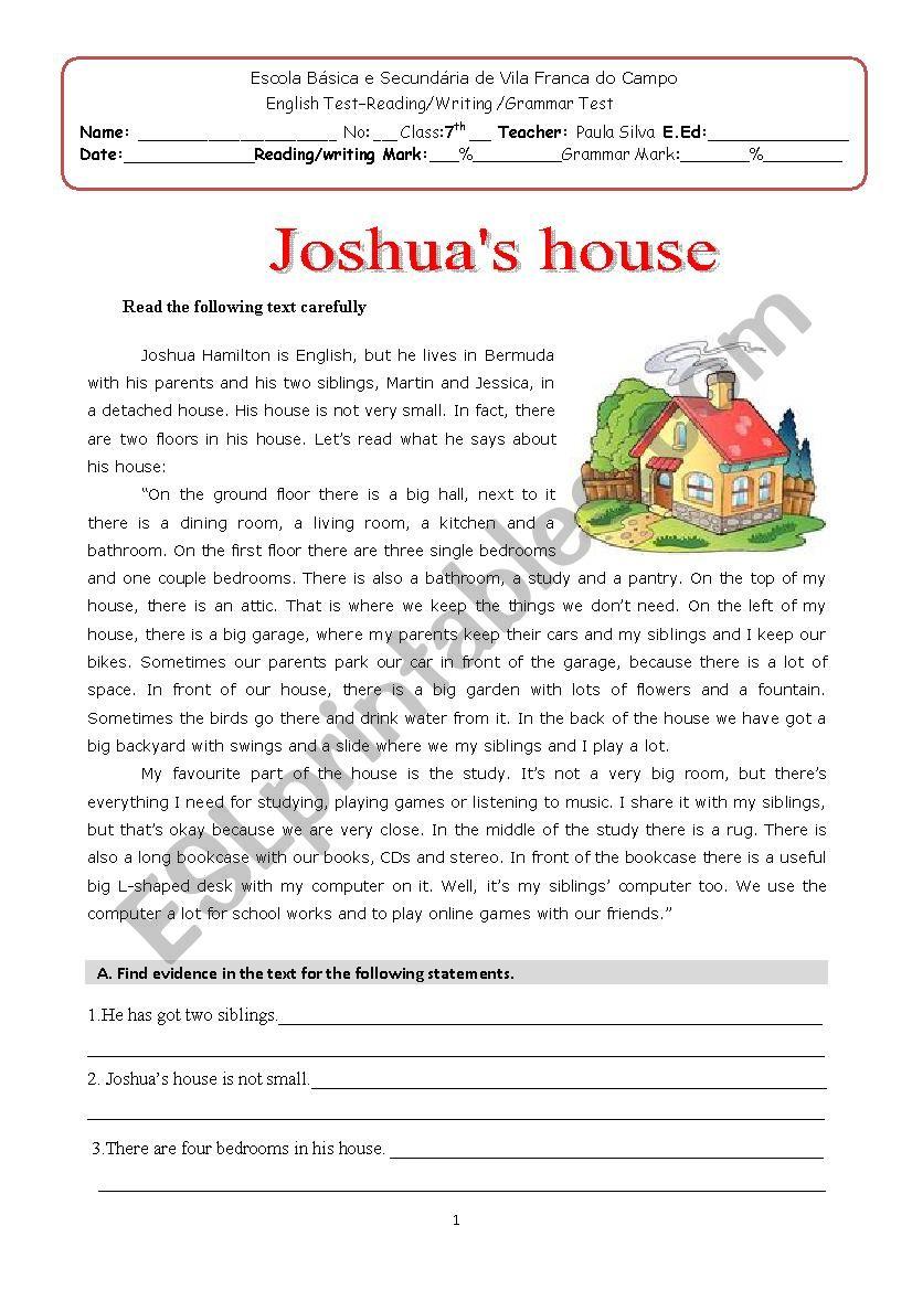 Joshua´s house worksheet