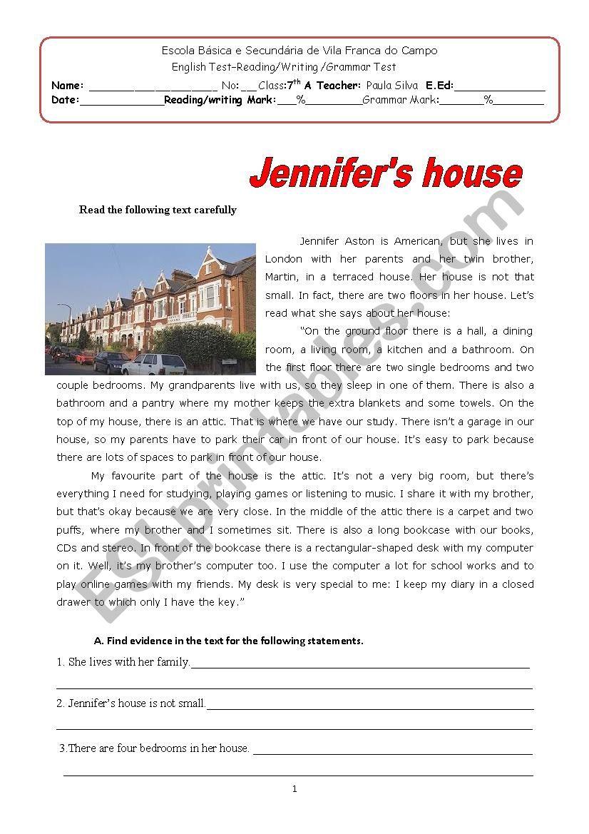 Jennifer´s house worksheet