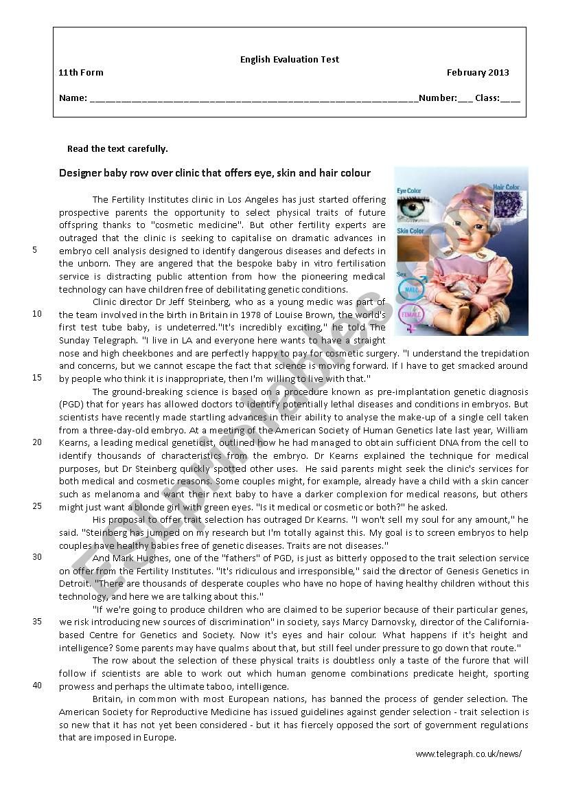 Designer Babies Esl Worksheet By Isasilva
