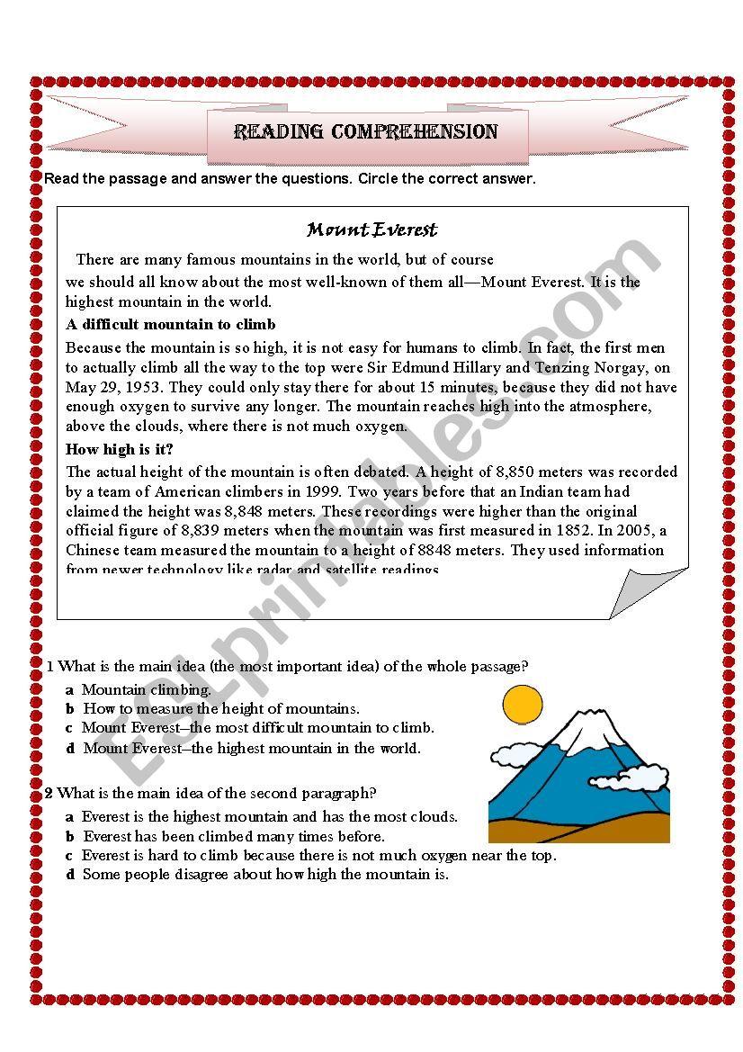 - Mount Everest Reading Comprehension - ESL Worksheet By Sadeel