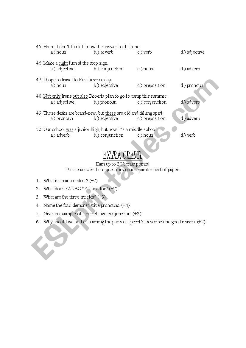 Parts of speech test - ESL worksheet by sofia123