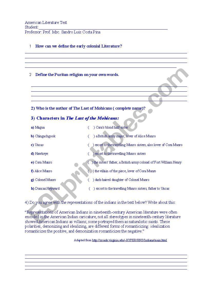 American Literature Test - ESL worksheet by sandroenglish