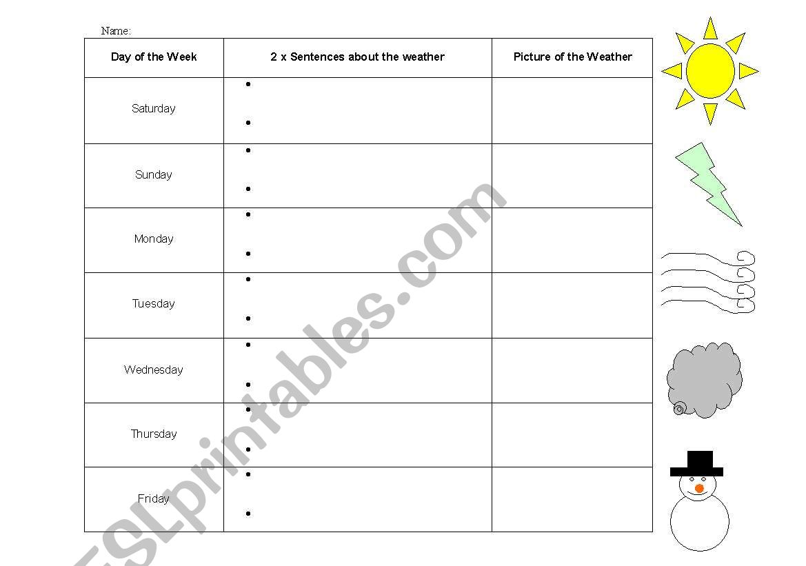 Weather Diary worksheet