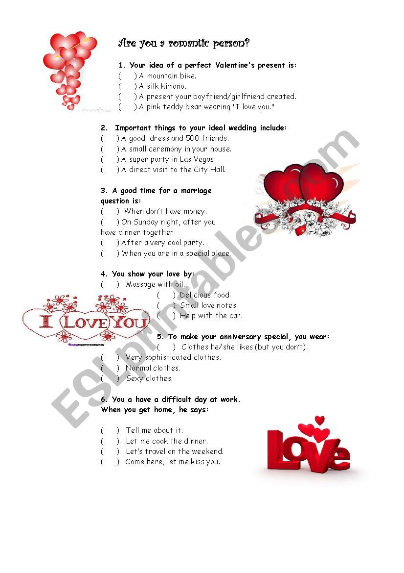 Quiz: Are you very romantic? - ESL worksheet by LCvanti