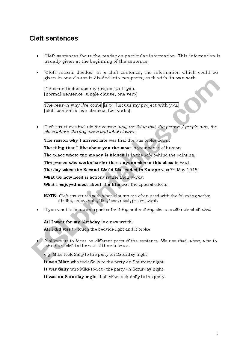 Cleft Sentences (Adding Emphasis) + Exercises - ESL