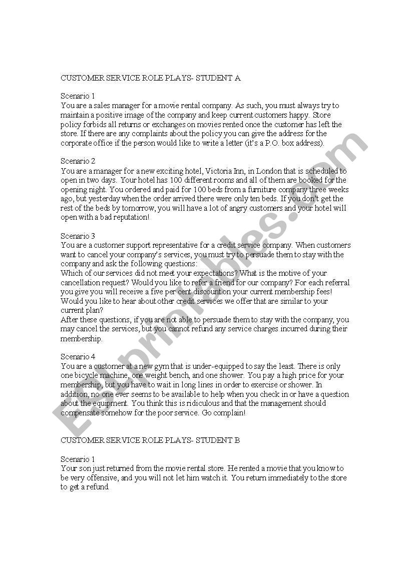 customer service role plays worksheet