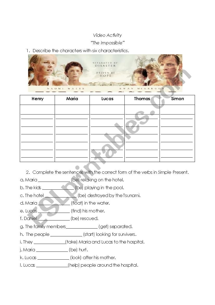 Movie ´The Impossible´ worksheet