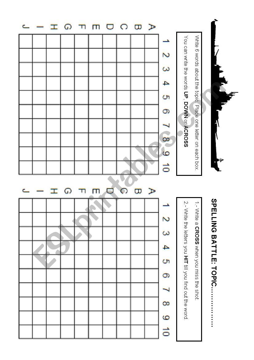 Spelling Battle worksheet
