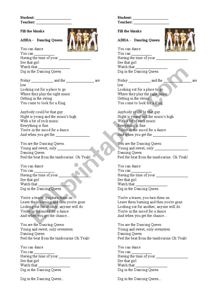 ABBA Dancing Queen  worksheet