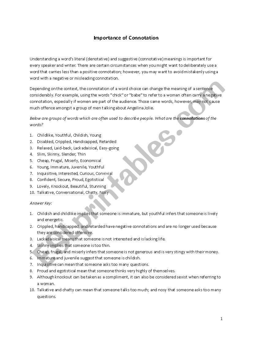 Connotations ESL Worksheet By HinaAmoodi