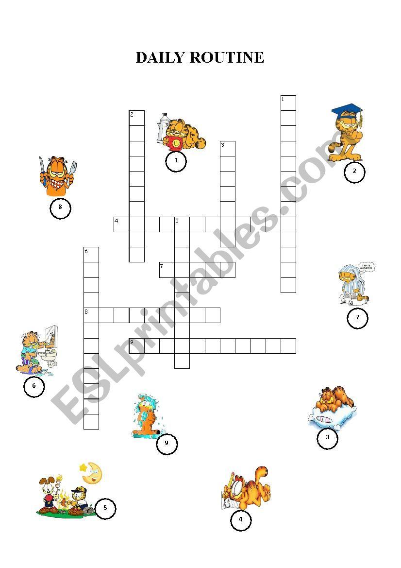 garfiled daily routine crossword
