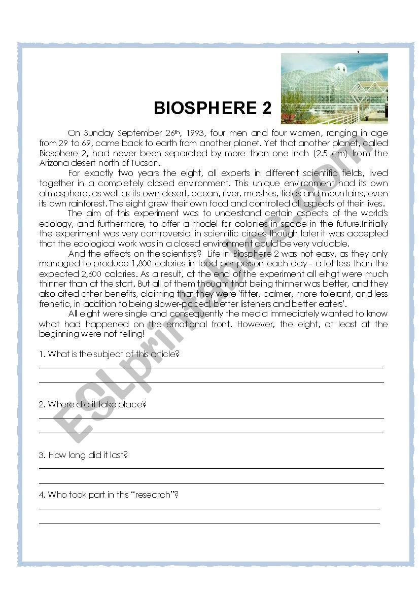 Biosphere 2 Esl Worksheet By Dannuzia