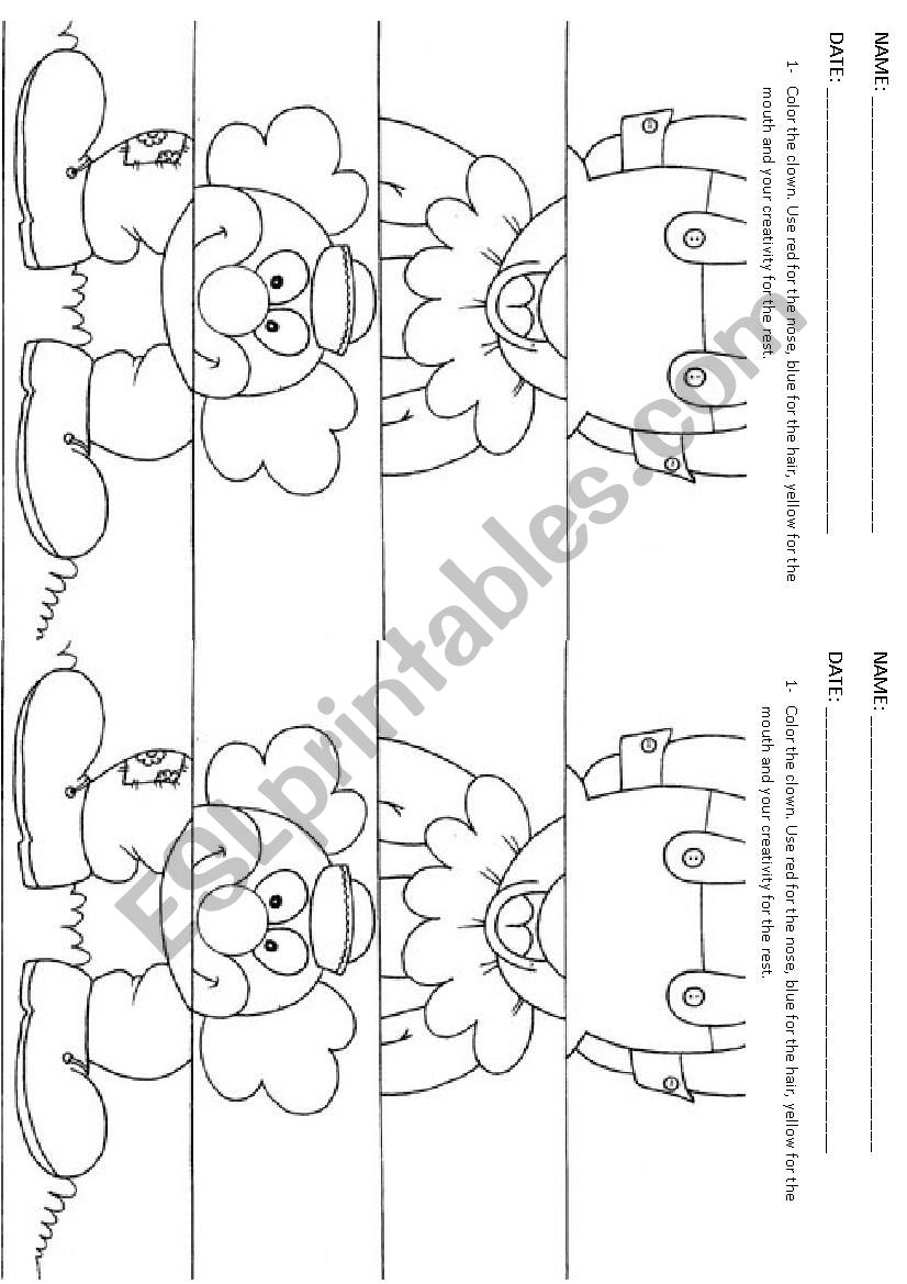 CLOWN color, cut and paste worksheet