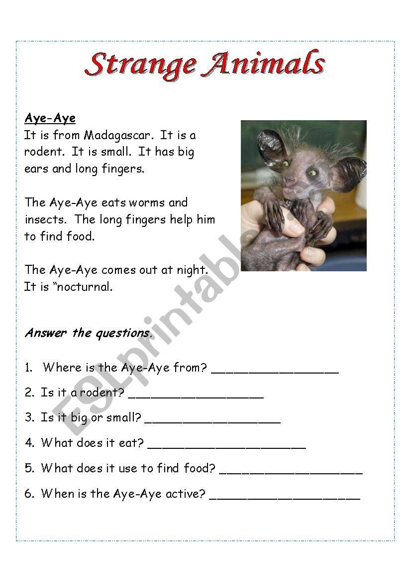 Six Easy Readers - Strange Animals Set 1
