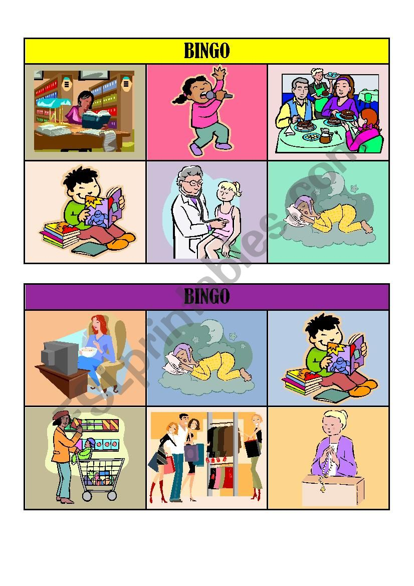 VERB TENSES BINGO CARDS/ playing cards 4/5