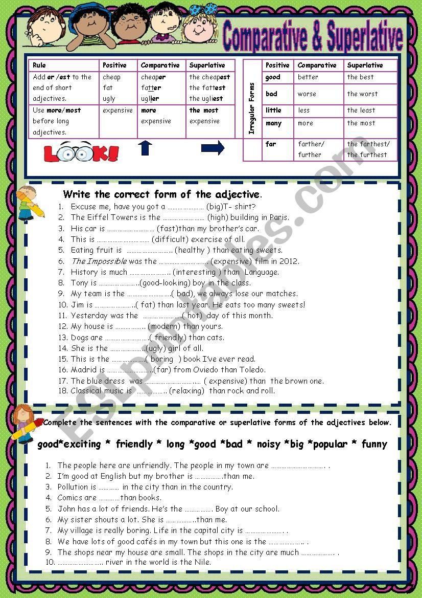 Comparative & Superlative  worksheet