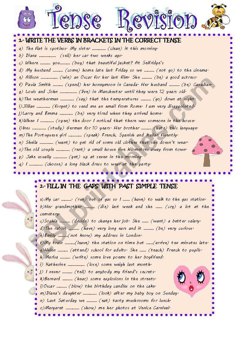 REVISION TENSES worksheet