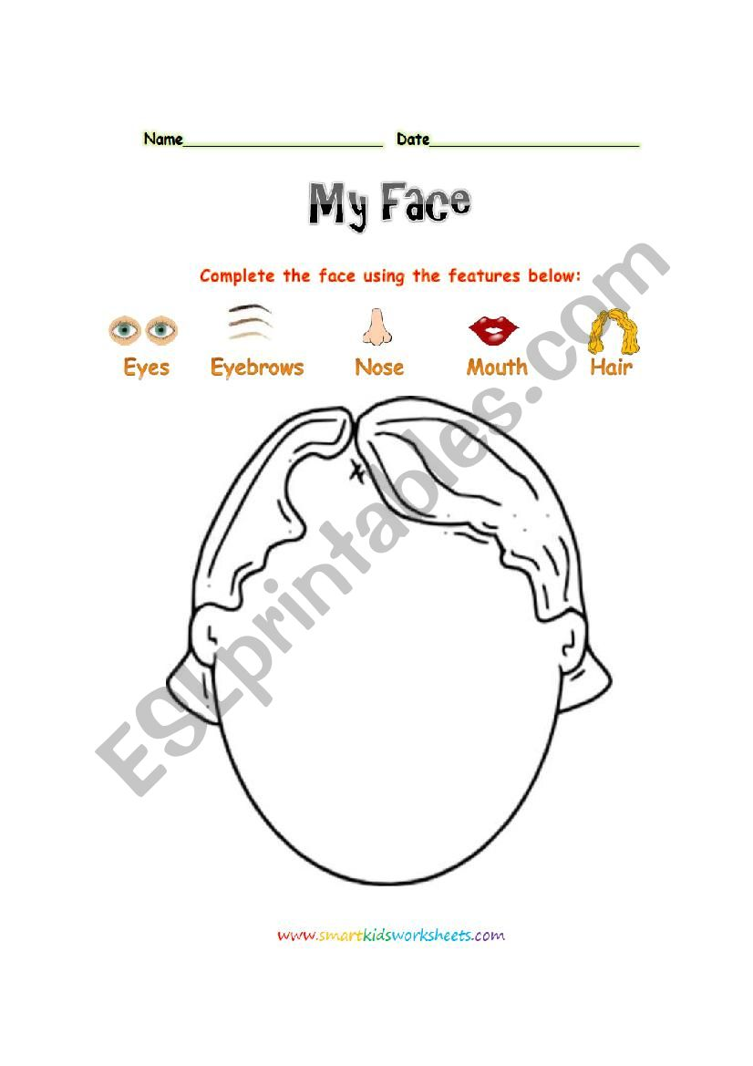 My face worksheet
